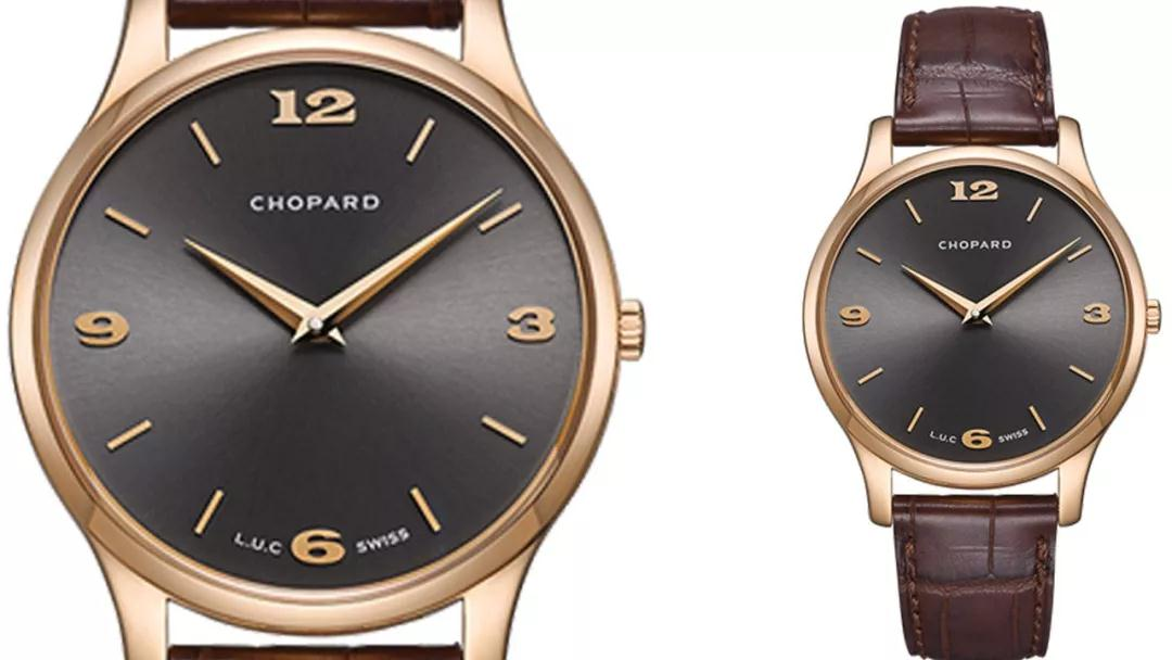 The brown leather strap and dark gray dial sport a distinctive look of gentle style.