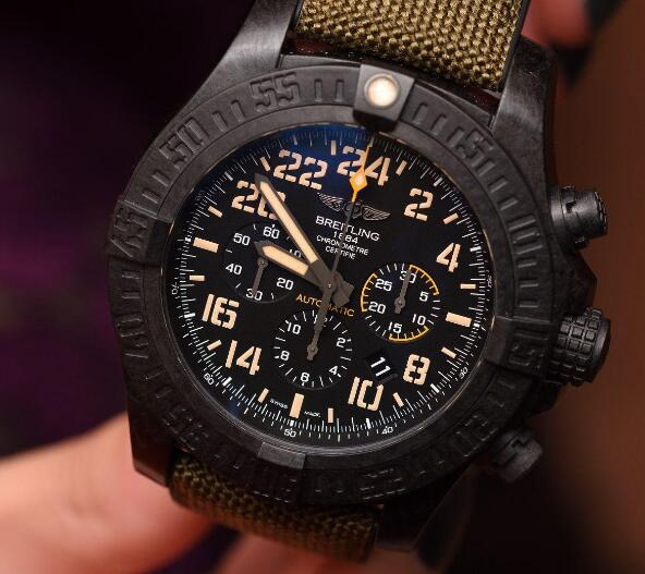 The high-tech material of this Breitling is much lighter than steel or titanium.