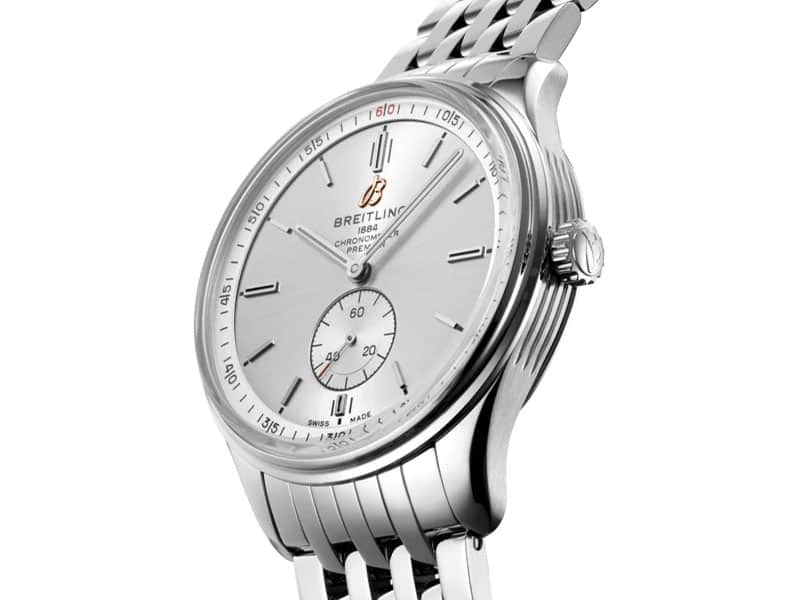 The stainless steel copy watches have silvery dials.